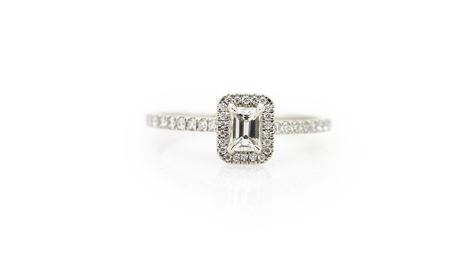 Emerald Cut Diamond Solitaire Ring view 1