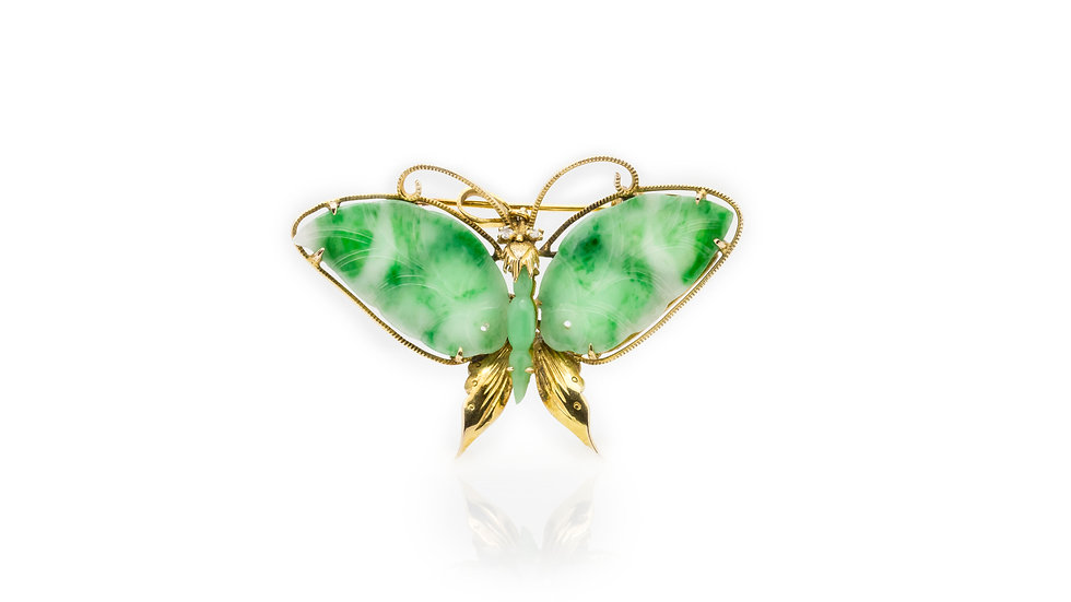 Jade Butterfly Brooch Pendant