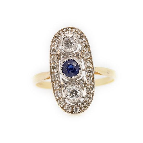 Art Deco Sapphire & Diamond Ring front view