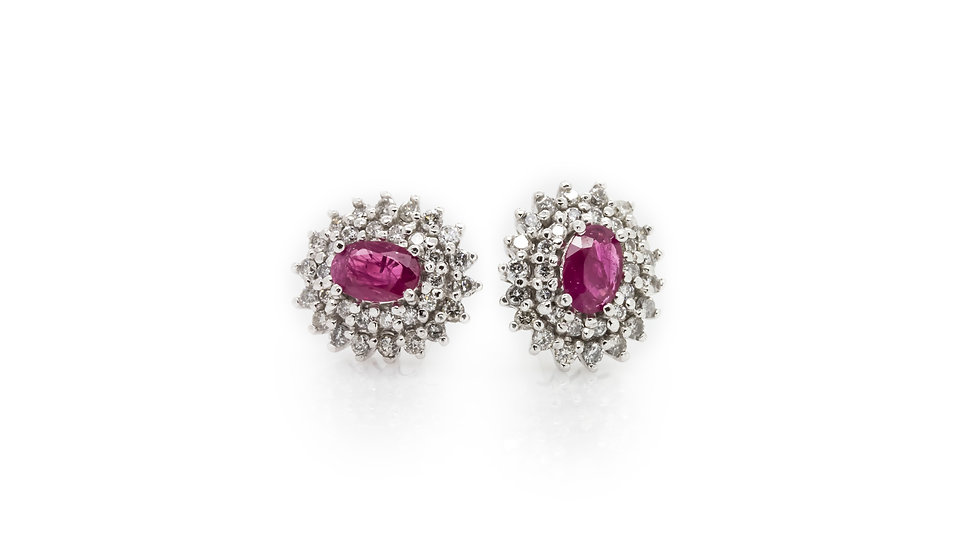Oval Ruby & Diamond Earrings Mulroy Antiques view 1