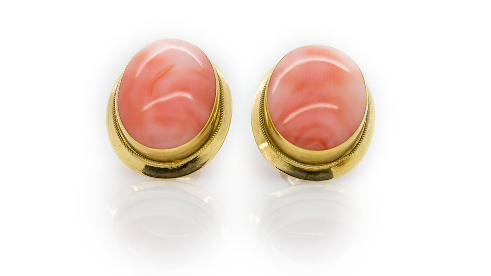 Pink Cabochon Coral Earrings front view