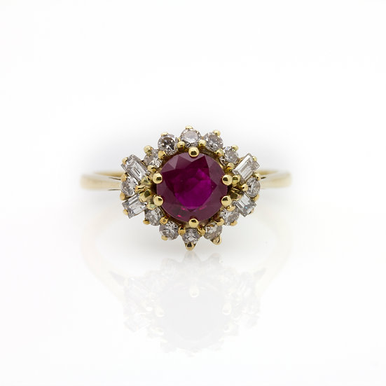 1 Carat Ruby & Diamond Yellow Gold Ring view 1