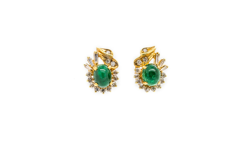 Cabochon stud back emerald earrings set in 18ct yellow