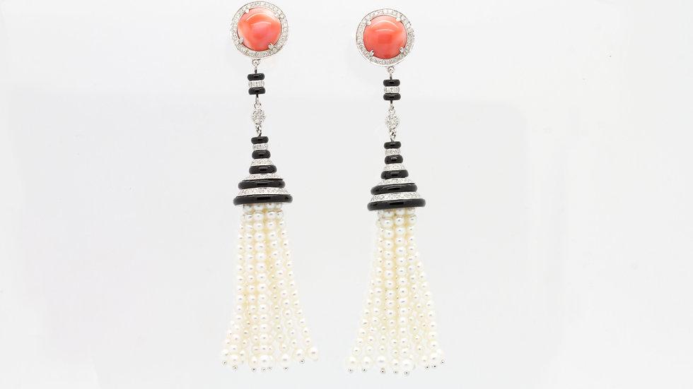 Coral & Pearl Earrings