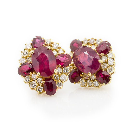 8ct Ruby & Diamond Earrings
