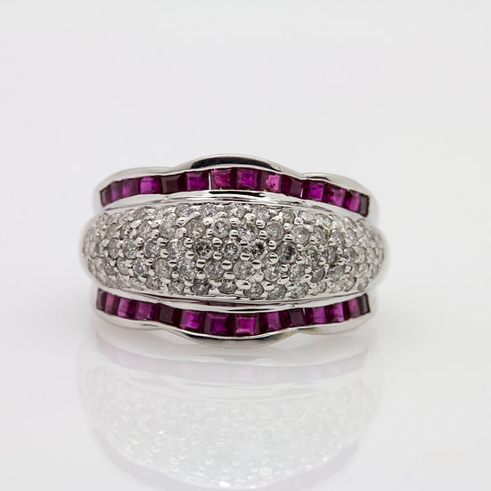 Pave Diamond and Ruby Wide Band