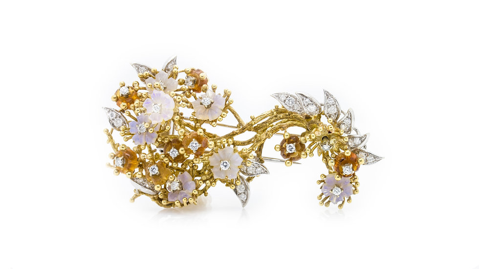 Opal & Diamond Large Floral Brooch