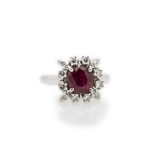 Ruby Cluster Ring view 1