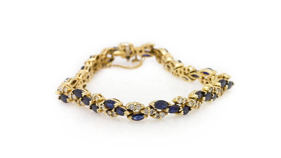 Sapphire & Diamond Bracelet marquise cut
