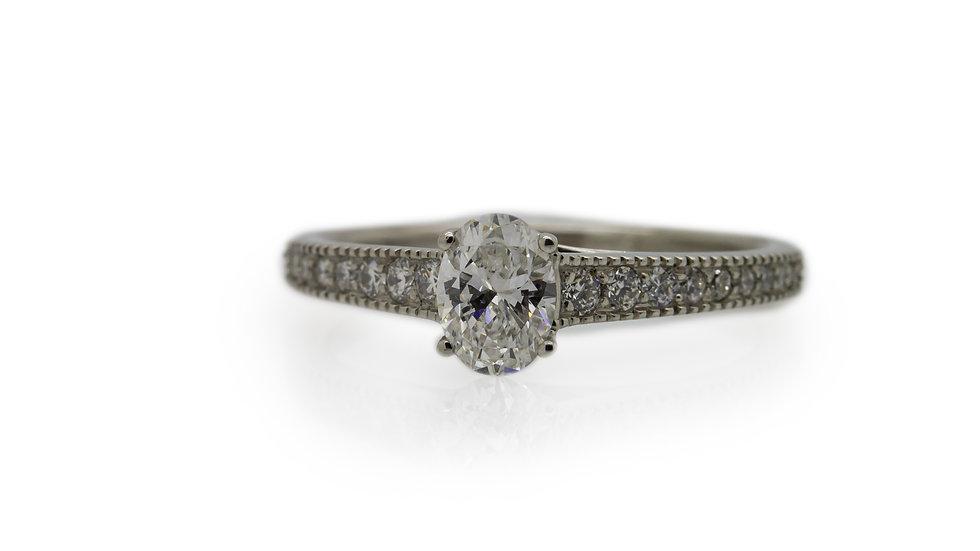 Raphael Platinum Oval Brilliant Cut Diamond Engagement Ring