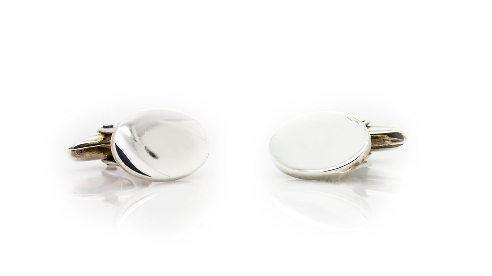 Sterling Silver Oval Cuff Links