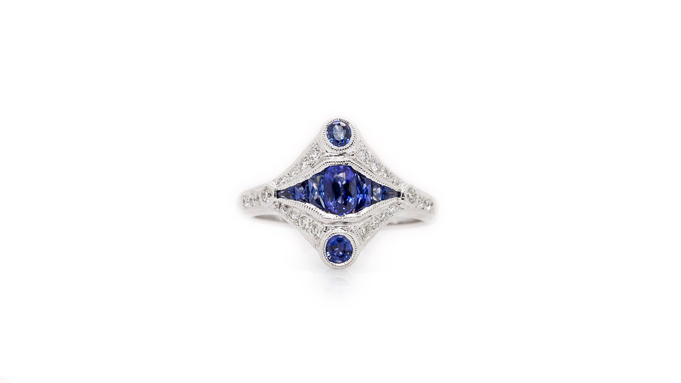 Art Deco Sapphire & Diamond Ring view 1