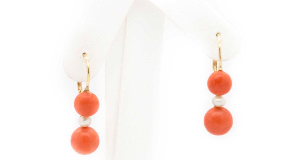 Coral & Pearl Drop Earrings