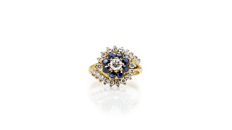 Sapphire & Diamond Cluster Ring view 1