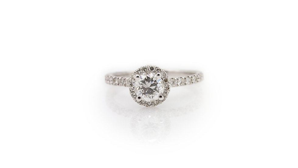diamond solitaire with halo 14ct white gold view 1