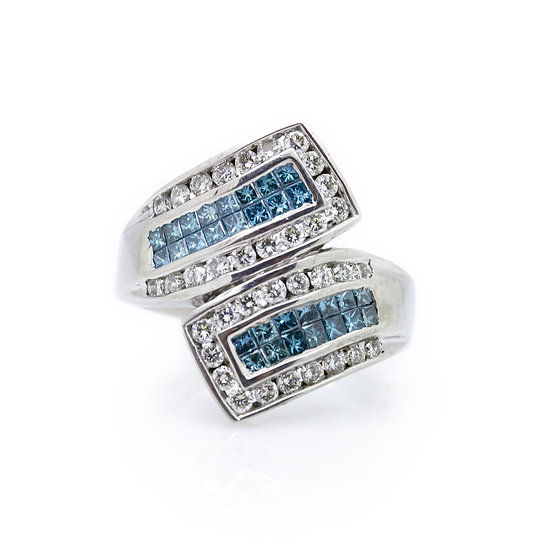 Blue & White Diamond Twist Ring