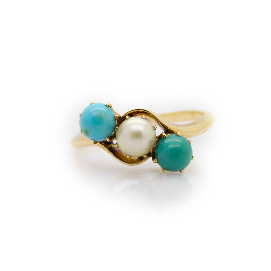 3 Stone Pearl & Turquoise Ring View 1