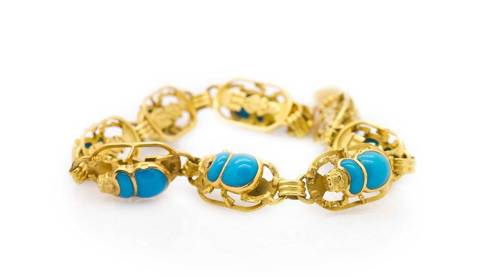 Turquoise Scarab Bracelet view 1