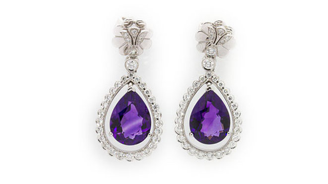 Diamond and  Amethyst Earrings view 1