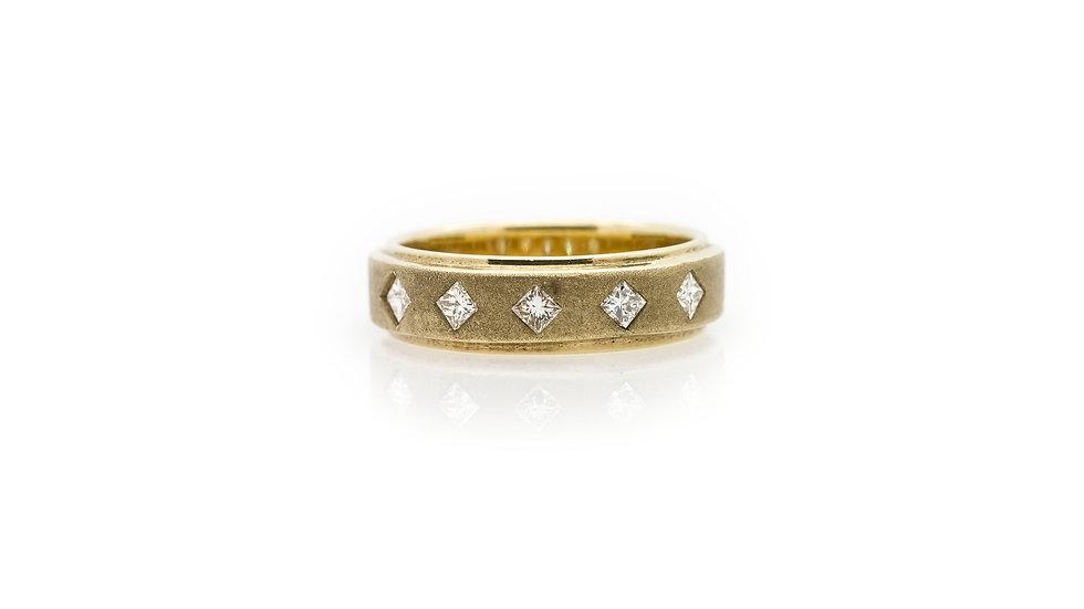 Yellow Gold Princess Diamond  Band Ring front view