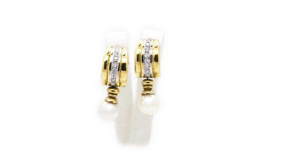Pearl & Diamond Yellow Gold Earrings view 1