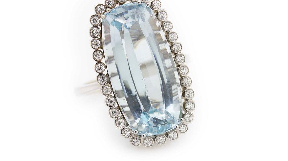Aquamarine & Diamond Cocktail Ring view 1