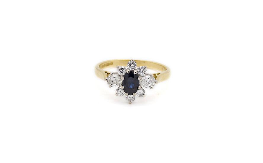 18CT Gold Yellow Sapphire  & Diamond Ring