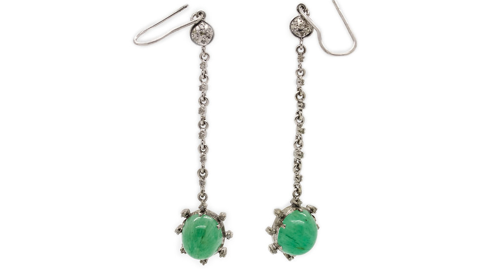 Jade Cabochon Drop Earrings