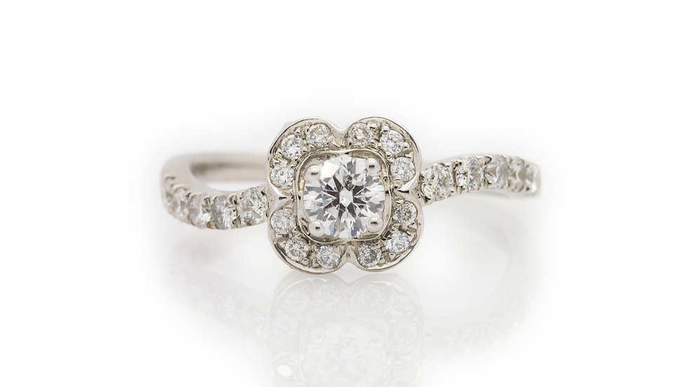 White Gold Flower Diamond Ring front view