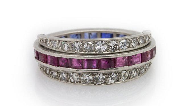 Ruby Sapphire & Diamond Band