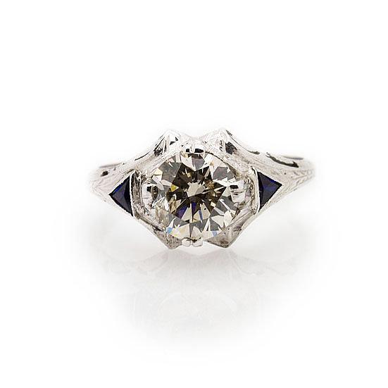 Gents Diamond & Sapphire Ring view 1