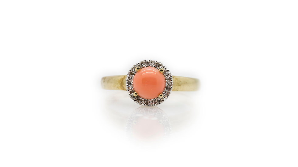 Coral & Diamond Ring front view