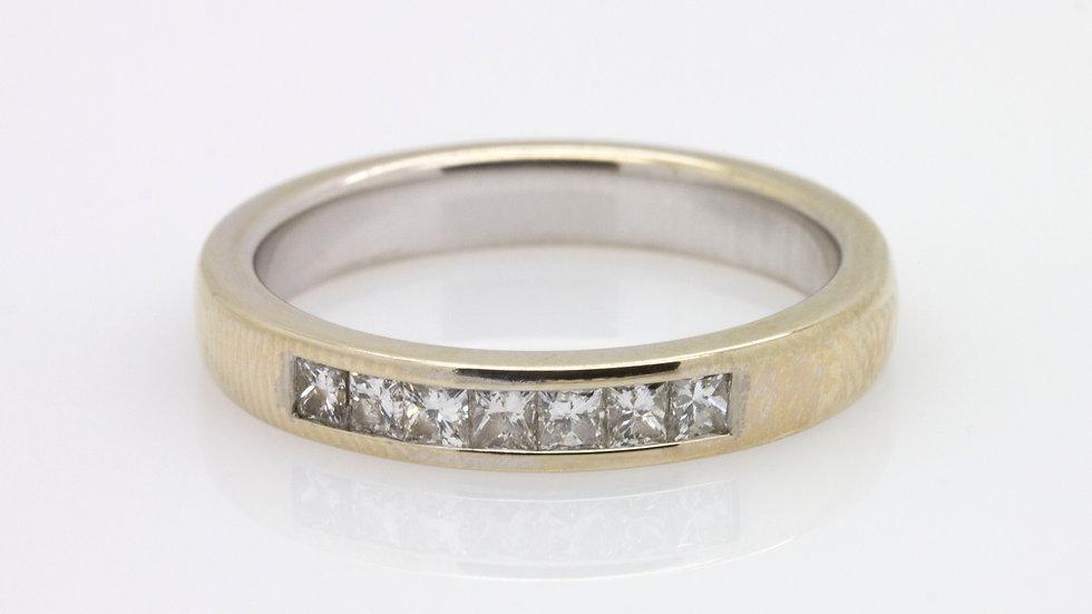 Princess cut diamond wedding band set in 18ct gold.