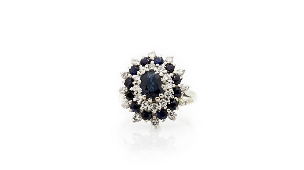 Sapphire & Diamond Cluster Ring view 1