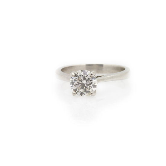 1ct Diamond Solitaire Platinum Ring front view