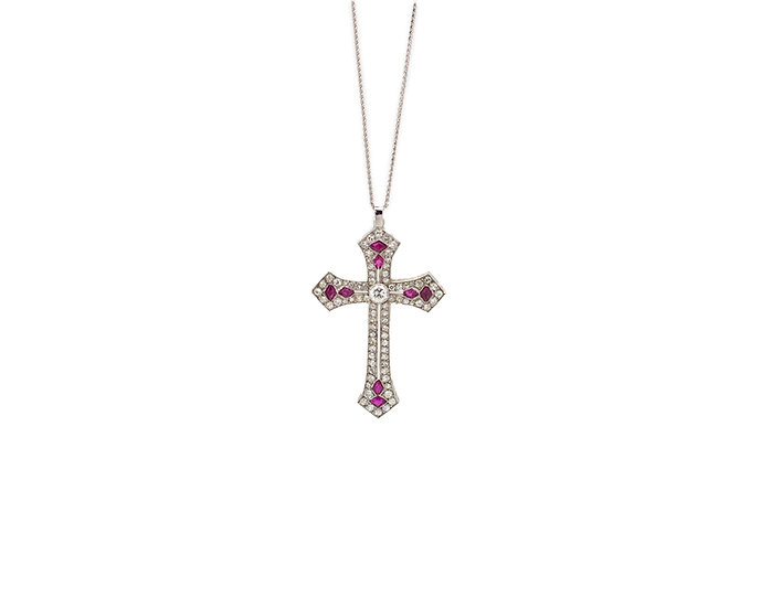 Ruby & Diamond Pendant Cross