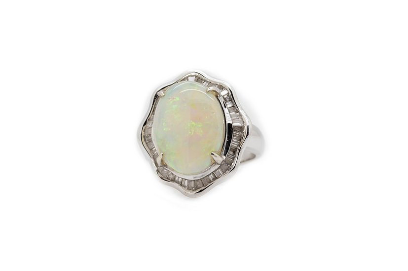 Opal & Diamond Cocktail Ring Mulroy Antiques view 1