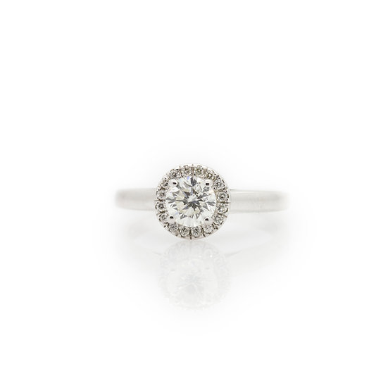 Diamond Solitaire Ring With Halo view 1
