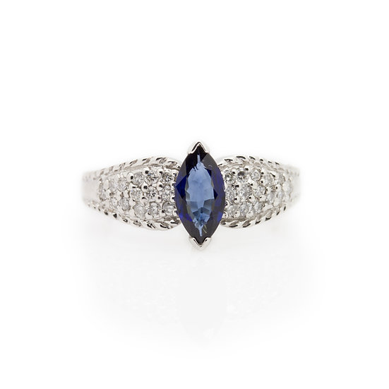 Marquise  Sapphire & Diamond Ring front view