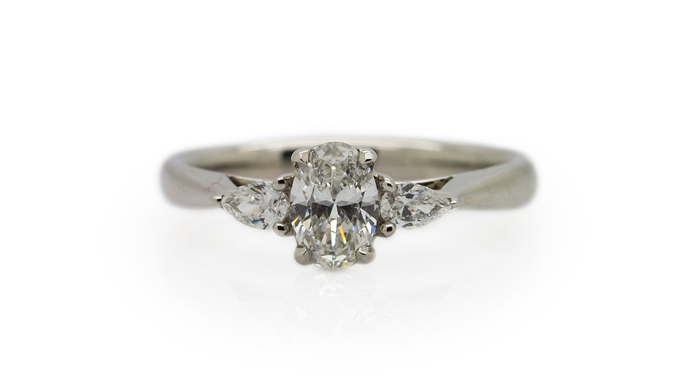 Raphael Platinum Platinum Oval with Pear Diamond Shoulders Ring