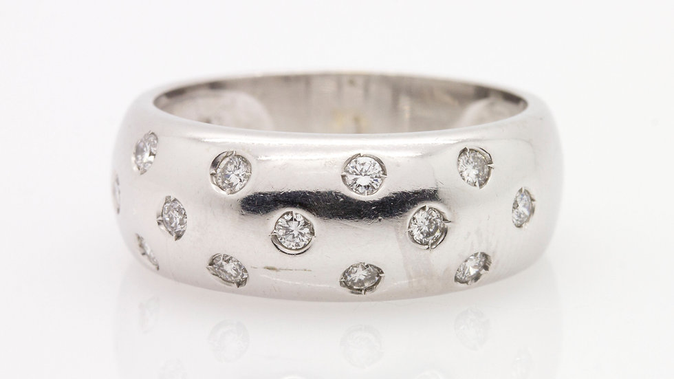 White Gold Diamond Band with diamond detail