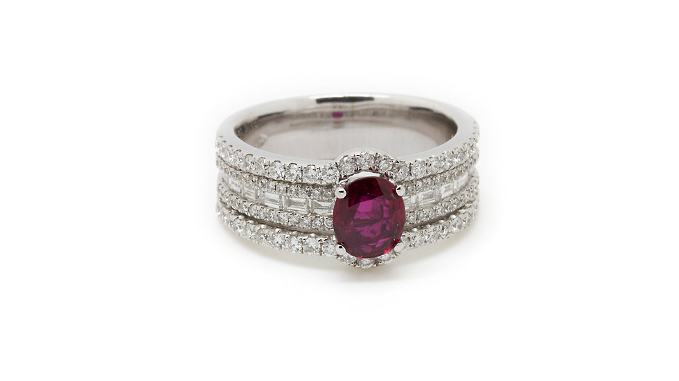 Channel Set Oval Ruby and Diamond Ring