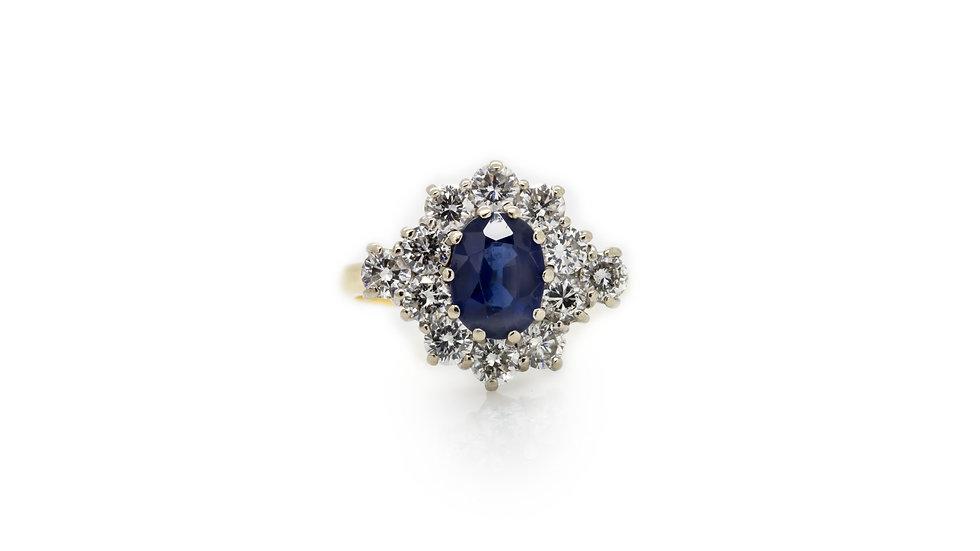 Sapphire & Diamond Halo Ring Mulroy Antiques