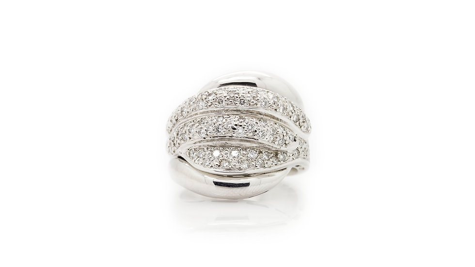 White Gold Wide Pave Set Diamond Band front view