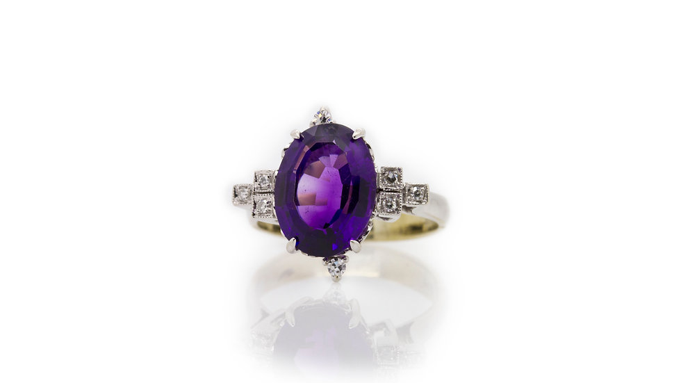 Oval Amethyst & Diamond Ring view 1