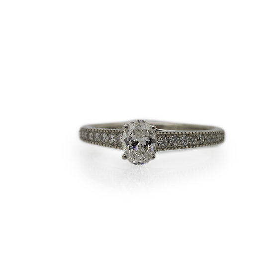 Raphael Platinum Oval Brilliant Cut Diamond Engagement Ring
