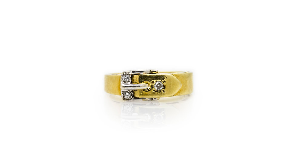 Yellow Gold Buckle Ring view 2