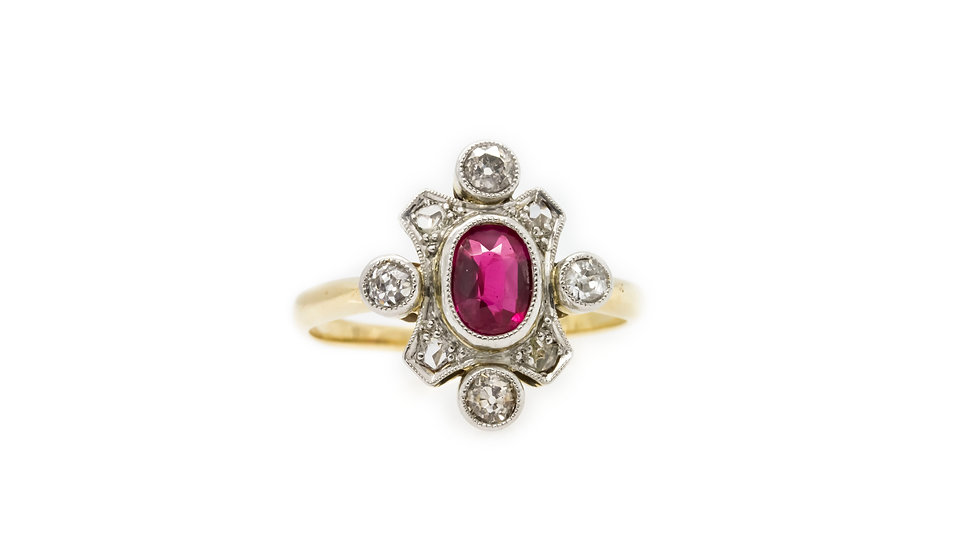 Pink Tourmaline & Diamond Yellow Gold Ring view 1