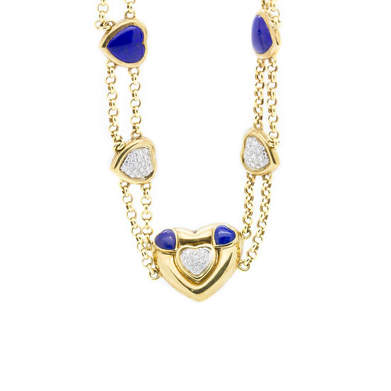 Lapis & Diamond Heart Gold Necklace