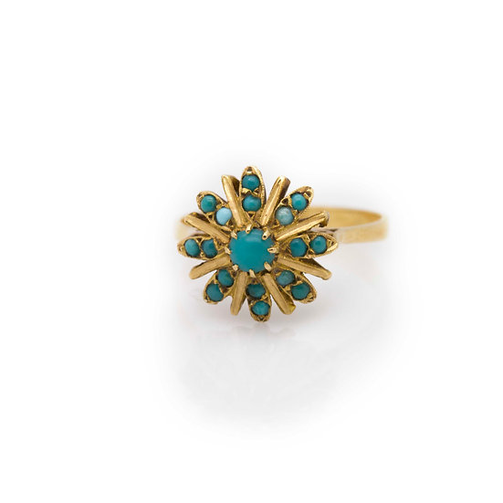 Turquoise Flower Cluster Ring View 1